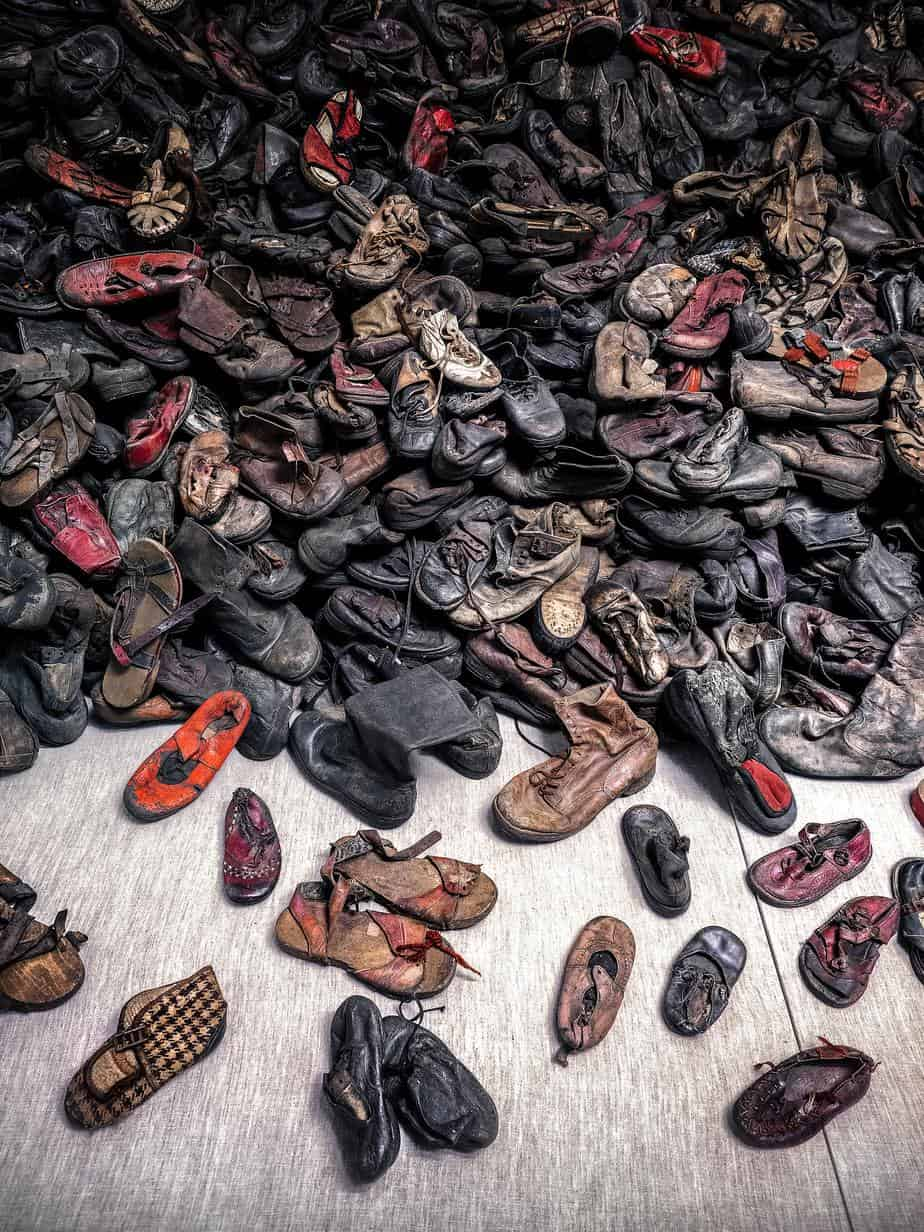 Shoes of the victims in a concentration camp
