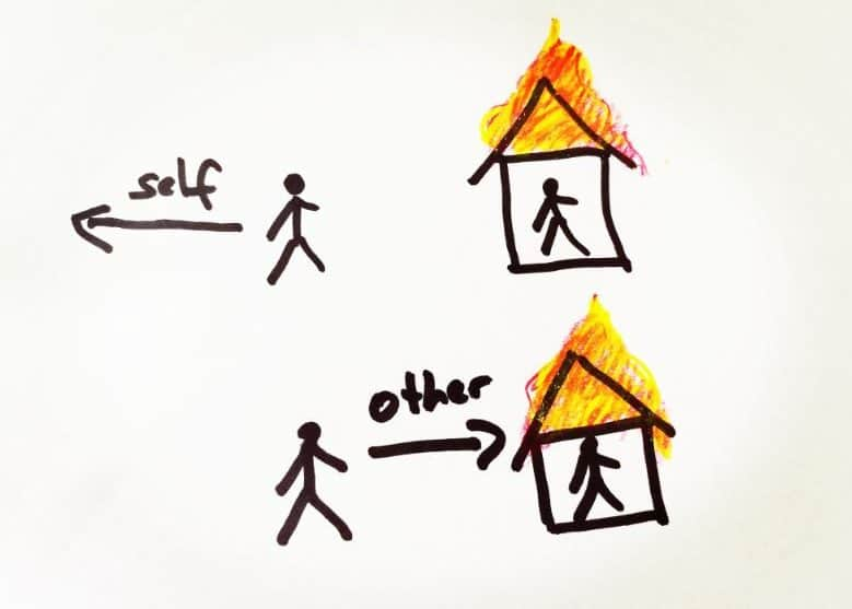 Drawing of a stick figure in front of a burning house