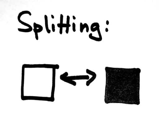 A visualization of splitting (black and white thinking)