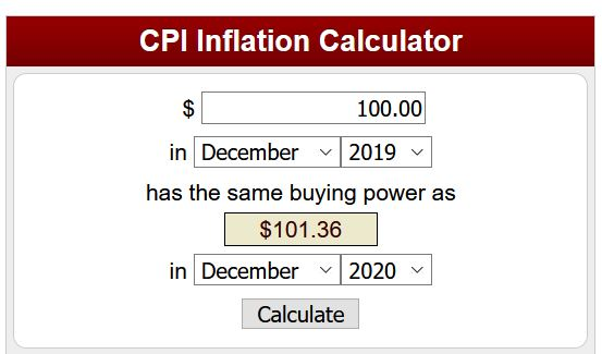 Price inflation calculator (1 Year Example)